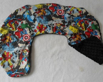 Marvel Retro Comic and Black Minky Dot Nursing Pillow Cover Fits Boppy CHOICE OF MINKY