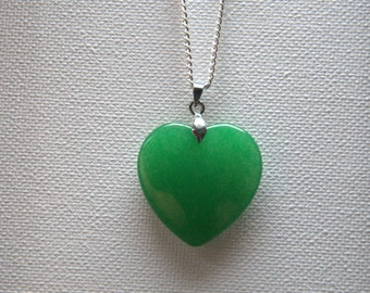 Valentine's Green jade Gemstone heart pendant necklace Valentine gift for her silver plated jewelry jewellery Birthday gift for her