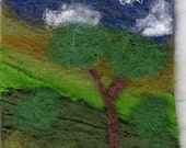 Hand Felted OAK ATC/ACEO wool, silk   Tree in the Valley