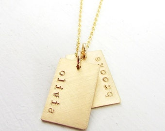 Dog Tag Necklace - Gold Name Charm Necklace - Personalized Jewelry - E. Ria Designs