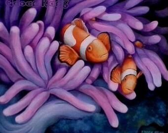 "SEA LIFE - Large 24"" × 30"" Original Acrylic Painting On Canvas Sea Anemone Clown Fish Modern Art"