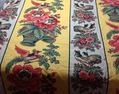 SALE - Cotton Decorator Waverly Yellow, Red and Green Fabric 54inches One Yard