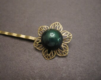 Emerald Hair Pin, Woodland Wedding, Bohemian Hair Pin, Boho, Nature Inspired, Flower, Her, Vintage Cabochon, Filigree Bobby Pin, Hair Clip