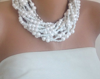 Bold Bridal Pearls and Rhinestone Necklace and bracelet set