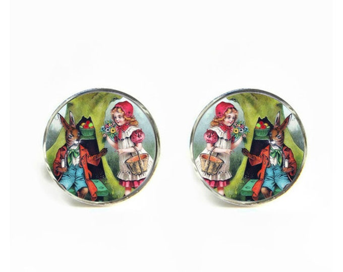Rabbit Apple Vendor small post stud earrings Stainless steel hypoallergenic 12mm Gifts for her