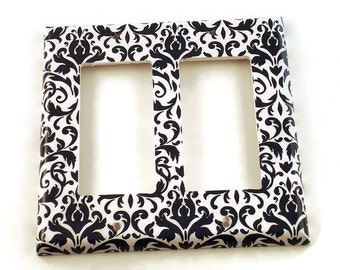 DoubleRocker Light Switch Plate Light Switch Cover  Light Switchplates in  Navy Damask (136DR)