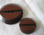 Set of 2 VINTAGE Rust Red Laminate Plastic on Wood BUTTONS