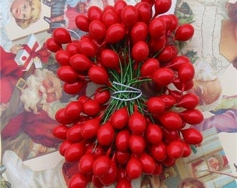 Christmas Red Holly Berries Stamens Large 1/2 inch 72 Pieces 144 Berries