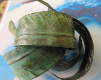 Verdigris Patina Hand Bent Brass Quill Feather Cuff 692VER x1