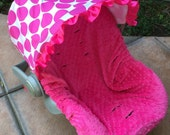 Infant Car Seat Cover, Baby Car Seat Cover in lg hot pink polka dots