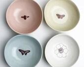 summer garden dessert bowls set of four in blush, sky, petal, stone