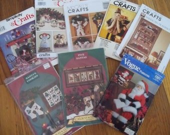 Christmas Craft & Sewing Patterns Lot of 8 Uncut