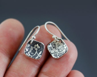 Tiny Silver Diamond Lace Earrings - elegant sterling silver by Lisa Hopkins Design