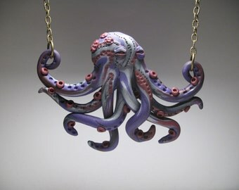Small Purple Octopus Necklace - Polymer Clay Jewelry - Wearable Art