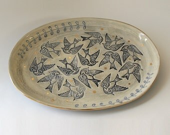 Put a Bird on It Large Handmade Ceramic Serving Platter Available in 14 days