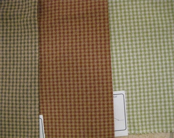 Faux Quilt Gingham Check Duralee Designer Fabric Samples 3 Pieces Lot