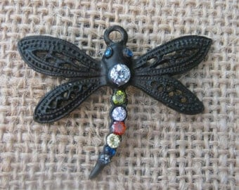 Large Metal Black Dragon Fly with Cubic Zirconia Gems Charm/Pendant
