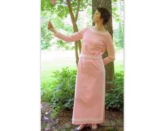 Vintage 1960's Pink Maxi Prom Party Dress, Modern Size 8, Small