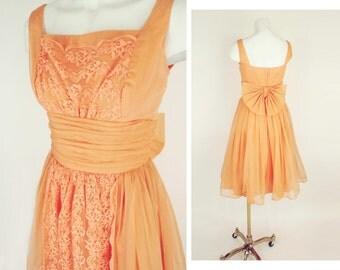 50s Melon Full Skirt Party Dress with Cummerbund Waist, Big Back Bow XS