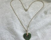 Vintage Jade Heart Necklace - Gold Plated - 1950s Ladies Jewlery