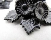 Floral Shoe Clips Vintage 1950s 1960s shoe clip black flowers leaves