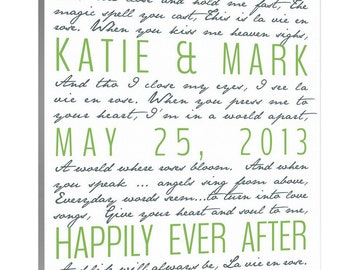 Second Cotton Anniversary Gift, Wedding Vows on Canvas, For Him, For Her Word Art  10X10