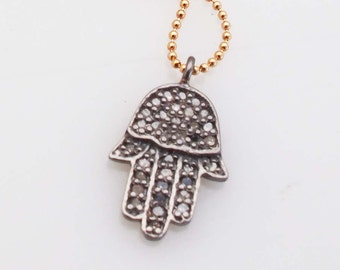 Necklace-Diamond Hand of Hamsa Protection Pendant