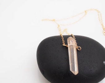 Necklace - Peach Crystal Quartz Necklace