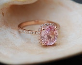 Peach Sapphire Ring Rose Gold Engagement Ring 2.39ct cushion 14k rose gold diamond ring.