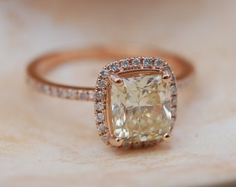 Yellow Diamond Engagement rings 2ct VVS2 Jasmine yellow diamond ring. Rose gold ring with cushion diamond. Engagement ring by Eidelprecious
