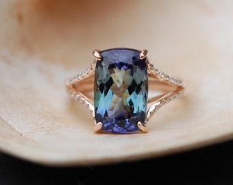 Tanzanite Ring. Rose Gold Engagement Ring Lavender Mint Tanzanite cushion cut halo engagement ring 14k rose gold.