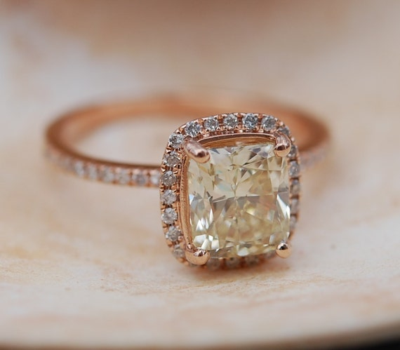 Yellow Diamond Engagement rings 2ct VVS2 Jasmine yellow diamond ring. Rose gold ring with cushion diamond. Engagement ring by Eidelprecious