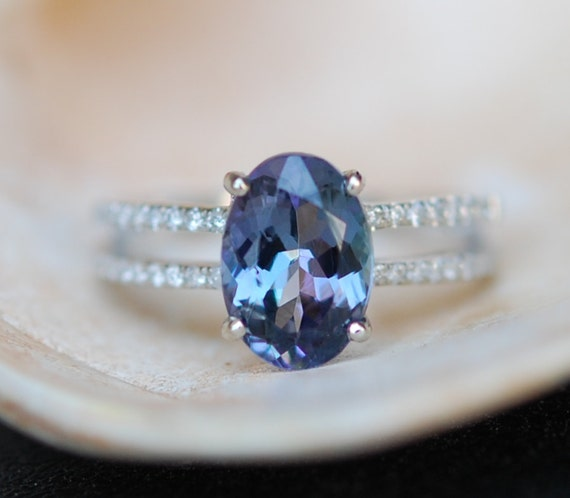Engagement ring. Tanzanite ring. Blue Tanzanite 2.2ct Oval double band engagement ring 14k white gold.