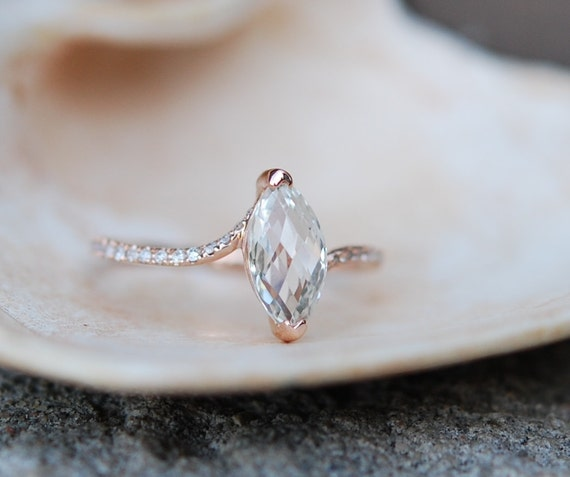 Unconventional engagement ring. Marquise engagement ring. Rose gold diamond ring engagement ring with 1.5ct white sapphire full eternity.