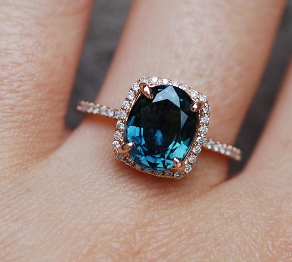 Blue Green sapphire engagement ring. Peacock sapphire 3.75ct cushion halo diamond  ring 14k Rose gold ring by Eidelprecious