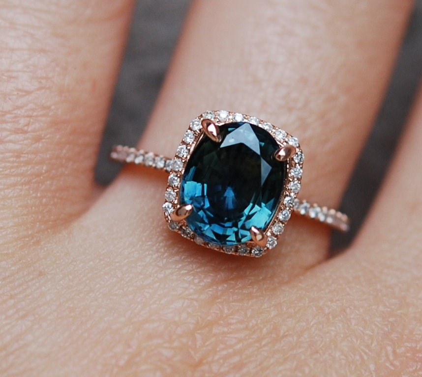 blue green sapphire engagement ring peacock sapphire cushion halo diamond ring 14k rose. Black Bedroom Furniture Sets. Home Design Ideas