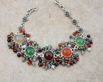"Marked 925 Sterling Silver Multicolored Braclet with Gemstones. weight 27.4 gm, length 7.5"", width 1"""
