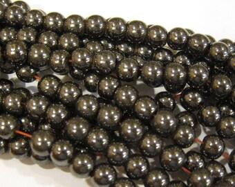 Magnetic Man Made Gunmetal Hemalyke 6mm Gemstone Round Beads 16 inch strand