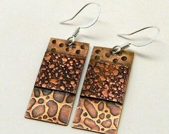 Mixed metal steampunk jewelry earrings.