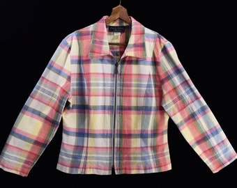 PASTEL PLAID vintage cotton jacket // 80's lightweight zip jacket // M medium