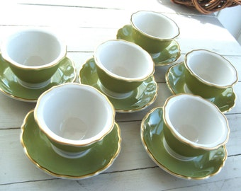 Service for 6 Restaurant Ware Syracuse China Custard Cups and Saucers