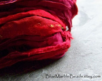 Sari Ribbon-Recycled Sari Ribbon-Silk Sari Ribbon-Reclaimed Recycled Silk Sari Ribbon-Vibrant Red & Burgundy-Ribbon-4 Yards