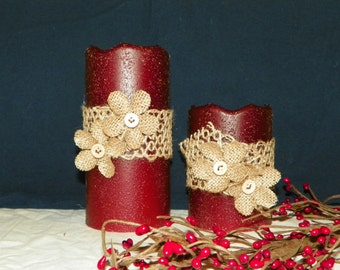 6 or 4 Inch Primitive Textured TIMER PILLAR Candles, Battery Operated