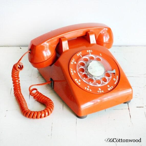 vintage telephone rotary phone orange dial by oldcottonwood. Black Bedroom Furniture Sets. Home Design Ideas