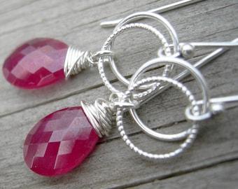 Ruby Silver Link Wire Wrapped Earrings July Birthstone