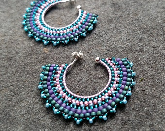 Pink, Purple and Teal Sterling Open Hoops with Post, Seed Bead Earrings