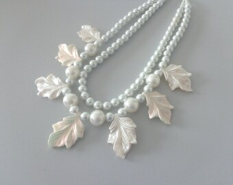 Pearl chunky Statement necklace, leaf pearl, wedding jewelry