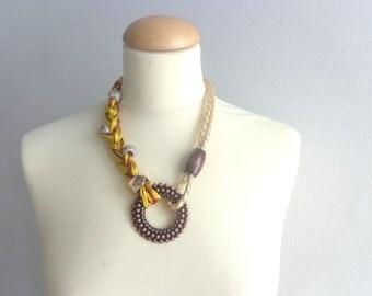 Brown mustard gold statement necklace
