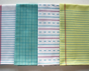 """4 """"Paper"""" Towels - Decorative Cotton Tea Towels // Lined // Handwriting // Graph // Notebook"""