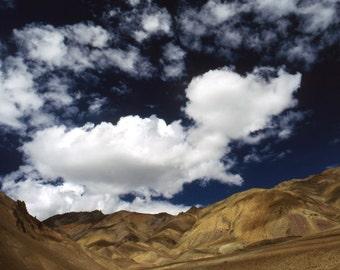 Sky Blue Sky - 5x7 print in 8x10 mat, ladakh photography, india photography, cloud photography, blue sky photography, himalayas